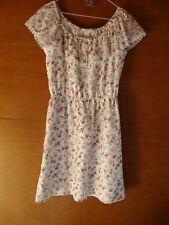 Top Notch Glad Rags White & Floral Off Shoulder Bardot Knee Length Dress Size 14