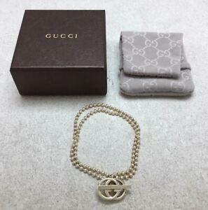 GUCCI Bracelet Interlocking GG T bar Sterling Silver 925 Men Women Necklace