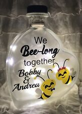 "LED 6"" Glass Light Heart Bottle Lamp We Belong Bee-long Together Personalised"