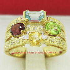 Real Genuine Natural Diamond Gemstone Solid Yellow Gold Engagement Wedding Ring