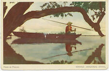 "BRAZIL 1950 mint coloured pc ""Pesca do Pirarucu - Manaus - Amazonas"""