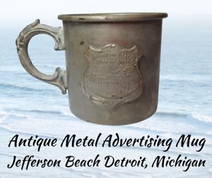 Antique Plated Metal Advertising Mug-JEFFERSON BEACH DETROIT MICHIGAN