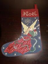 Burgundy & Blue Embroidered ANGEL NOEL CHRISTMAS Holiday Stocking