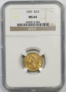 1907 $2.5 NGC MS 64 Liberty Head Gold Quarter Eagle