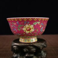 BEAUTIFUL CHINESE PURE HAND COLOUR ENAMELS LOTUS FLOWER PORCELAIN BOWL