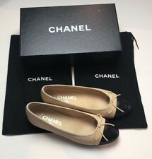 NEW CHANEL Beige & Black Leather Ballerina Flats Shoes Size 37.5 NEW SHOE SOLE