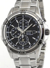 Seiko Mens Solar Chronograph Alarm Watch SSC147P1 Warranty, Box