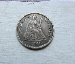 1861 Seated Liberty Half Dime ~ Great Civil War Date ~ AU Original ~ Great Coin!