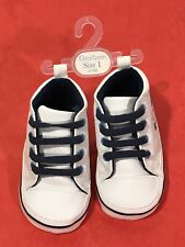 Gerber Size 1 White Soft Sole Crib Faux Leather Baby Shoes Allstar Hightop