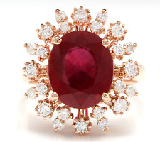 7.90 Carats Red Ruby and Natural Diamond 14K Solid Rose Gold Ring
