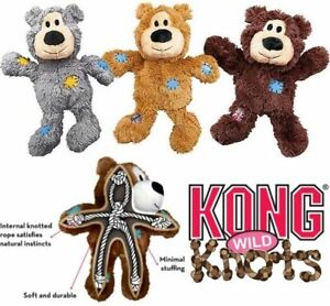 KONG Wild Knots Bear Dog Puppy Toys Plush Squeaky Dogs Toy Knotted Bears