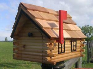 Log Cabin Mailbox Amish Handmade Cedar Wood
