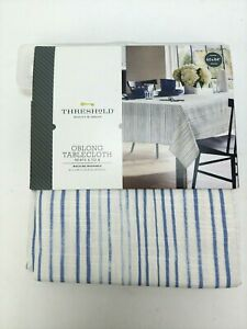 "Threshold Oblong Tablecloth 60""x84"" Blue Stripe Textile"