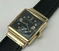 Rare Vintage 14k 14ct Solid Gold Longines Mens Watch with Diamonds