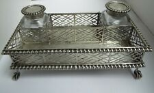 SUPERB DECORATIVE ENGLISH ANTIQUE VICTORIAN 1881 SOLID SILVER GALLERIED INKSTAND