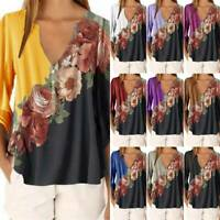 Womens Long Sleeve V Neck T-Shirts Casual Floral Print Blouse Loose Summer Tops