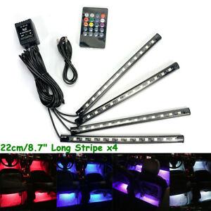 """8.7"""" RGB Clear LED Tube Foot light Wireless IR USB Remote Lamp Strip A H L Su JP"""