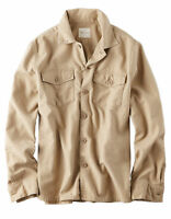 American Eagle Mens Beige Button Front Down Military Shirt Jacket L Large NEW