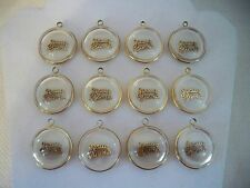VTG (12) Lucite JESUS SAVES White & Clear Gold Tone Charms Pendants Religious B