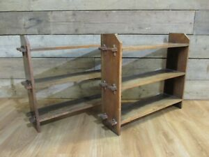PAIR OF LATE 19TH CENTURY ANTIQUE VICTORIAN WALL HANGING OPEN BOOKCASE