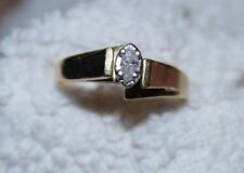 10 Carat Gold Engagement Ring W 0.2 Carat Marquise Diamond Size 5.5 Good Cond