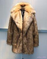 Mens Winter Lapel Thick Faux Fur Long Jacket Coat Parka Warm Winter Europe S-6XL