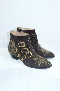 Chloe Susanna Dove Grey Suede Studded Buckle Ankle Boots Booties EUR 38 US 7