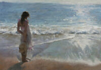 LMOP1082  long dress girl by the seaside hand painted oil painting art on canvas