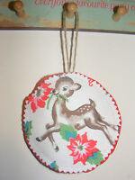 Deer Retro Cath Kidston Fabric & Felt Handmade Christmas Hanging Decorations