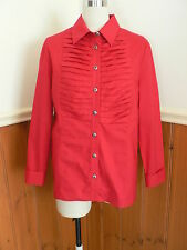 NEW R J WEAR LADIES SIZE 10 RED COTTON ELASTANE SHIRT SMART CASUAL PLEATED METAL