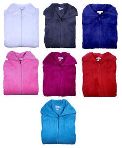 Slenderella Ladies Zip Up Dressing Gown Fleece Bathrobe House Coat Medium