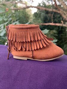 GARANIMALS Tassel Kiltie Cowgirl Justin Roper Cowboy Girls Boots Shoe Sz 3 👣b14