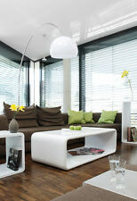 Couchtisch Wohnzimmertisch Tisch 120x60 cm Hochglanz weiß aus Fiberglas Retro
