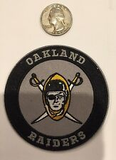 "VINTAGE IRON ON EMBROIDED PATCH OAKLAND RAIDERS 3""Round/ Rare!"