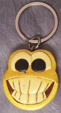 Intarsia Solid Wood Key Ring Smiley Face NEW