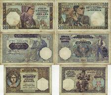 Lot 3 St. Jugoslawien Banknoten 50-100-500 Dinara 1941 Serbien Ro. 601-604-605a