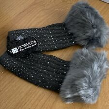 Howards Womens Knit Fingerless Gloves Gray Faux Fur Fashion Winter New SX66