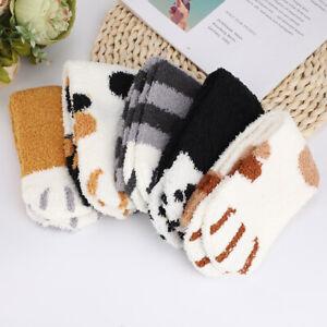 5 x Women Fluffy Cat Claw Sock Girl Plush Coral Fleece Thick Winter Floor Socks