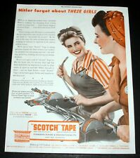 """1943 OLD WWII MAGAZINE PRINT AD, 3-M PRODUCTS """"SCOTCH"""" TAPE, HITLER FORGOT THEM!"""
