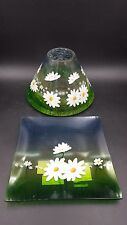 Yankee Candle Daisy Crackle Large Jar Candle Shade and Tray with tags, HTF