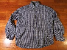 Barbour Men's Large Dress Shirt Brown Blue Gingham Check Regular Fit