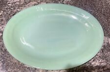 """Fire King Oven Glass Green Jadeite Jane Ray Oval Platter Tray 12"""" x 9"""""""
