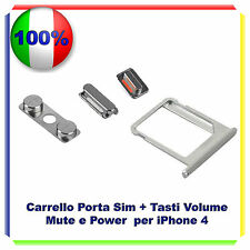 SLOT PORTA SIM SCHEDA VASSOIO + KIT TASTI VOLUME POWER MUTE  IPHONE 4 4G 4S