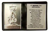 Metal Patron Saint Michael Plaque with Prayer in Leatherette Folder, 2 1/4 Inch