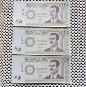 IRAQ. 25 Dinars x3. Issued by Central Bank of Iraq 2001. P-86. Uncirculated.
