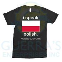 T-Shirt I Speak Polish Tee T Shirt Bilingual People Funny Gift Teacher Professor