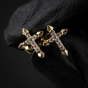 Small 14K Gold Sterling Silver Men's Women's Iced Cz Mini Cross Stud Earrings