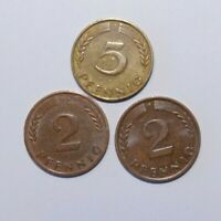 1949 J, 5 Pfennig and 1960 D/61 F, 2 Pfennig Germany a Lot of 3 Value Coins