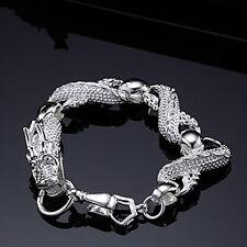 "Solid Silver China White Dragon Truely Women Chain Men Bracelet 8"" HY036"