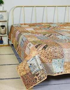 Beige Patchwork Kantha Quilt Indian Handmade King Size Sari Patch Blanket /Quilt